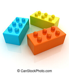 Building blocks on white