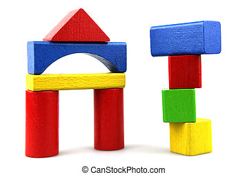 building blocks - colorful wooden childens building blocks...