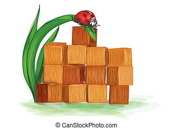 building blocks. wooden constructopn toy on white background