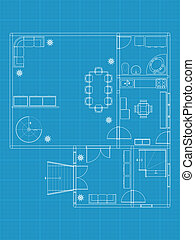 Detailed vector illustration of architectural blue prints
