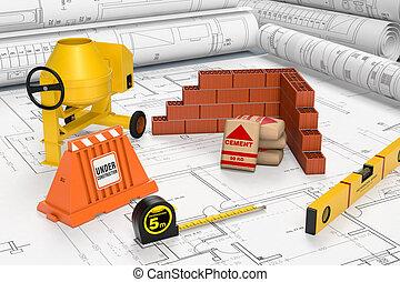 building tools - building blueprints with a cement mixer,...