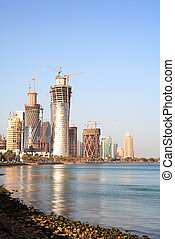 Building boom in Doha, Qatar - The development of the high-...