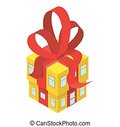 Building box gift with red bow. Yellow House with tape. In festive box with Windows and doors. An unusual House. Concept for more celebratory office building.