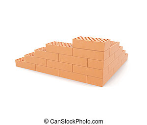Building brick wall isolated on white background with...
