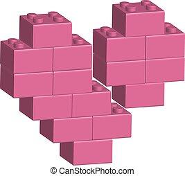 Building bricks in 3D broken heart