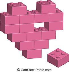 Building bricks in 3D missing part of heart