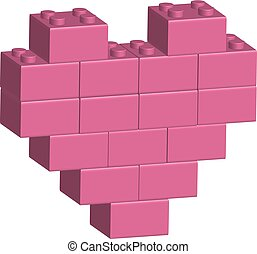 Building bricks in 3D pink heart