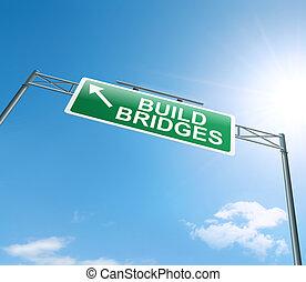 Building bridges. - Illustration depicting a roadsign with a...