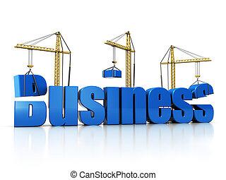 building business - 3d illustration of cranes building text...