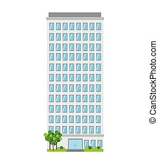 building business tower window tree door apartment city vector illustration isolated