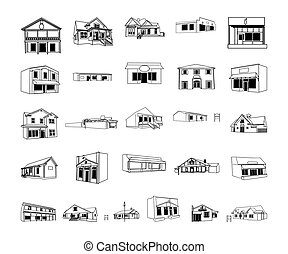 building cartoon clipart collection. Vector Illustration.. Collection set