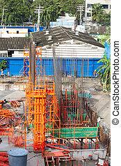 building cement pillar in construct site