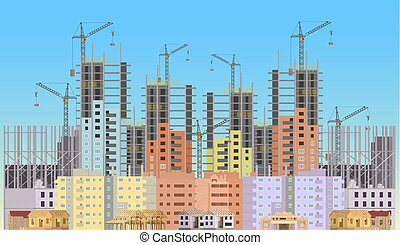 Building city under construction website with tower cranes. Constructions infographics template design.