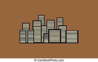 Building city vector of silhouette