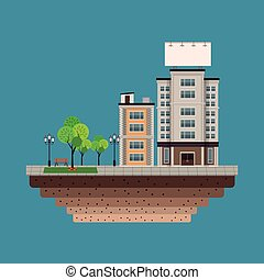 building city with large blank urban billboard blue background
