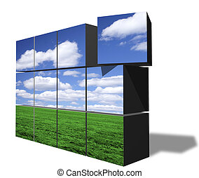 Stacked blocks forming image of clear sky over green field