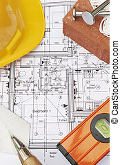 Building Components Arranged On House Plans
