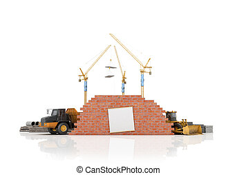 Building concept on a white background. 3D illustration