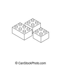 Building connector bricks icon, isometric 3d style