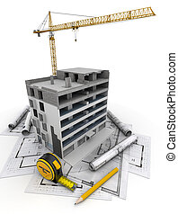 Building construction - An apartment block in construction...