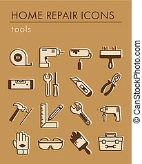 Building, construction and home repair tools icons