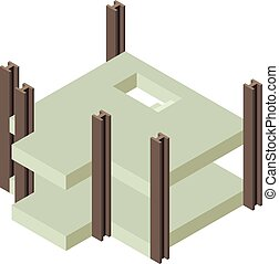Building construction city icon, isometric 3d style
