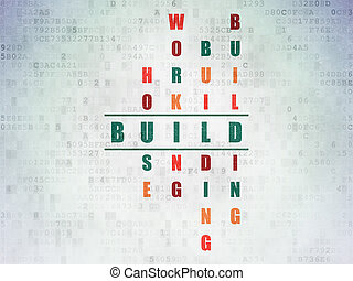 Building construction concept: Build in Crossword Puzzle