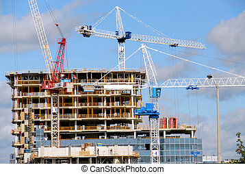 Construction of a tall modern building