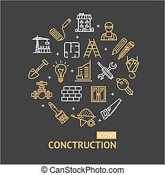 Building Construction Elements and Tools Color Round Design Template Line Icon Concept. Vector