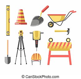 Building construction equipment tools vector icons set