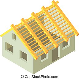 Building construction icon, isometric 3d style
