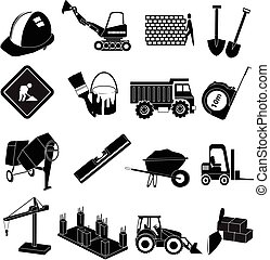 Building construction icons set