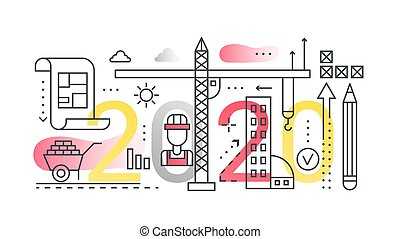 Building construction line vector illustration for web site design, abstract flat interface with technical process, development in architecture business technology