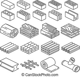 Building construction materials. 3D isometric icons