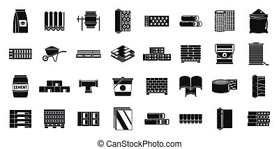 Building construction materials icons set, simple style