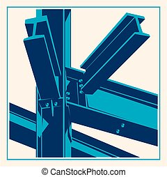 Building construction metal frame icon.