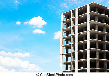 building construction on blue sky background