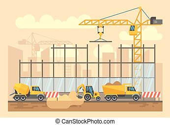 Building construction process, engineering tools, materials and equipment vector flat illustration
