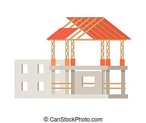 Building Construction Process of Cottage House. - Building...