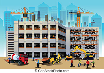 Building construction scene - A vector illustration of...