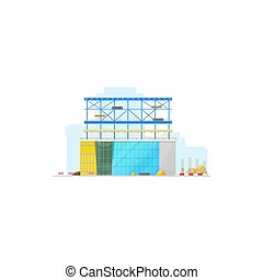 Building construction site isolated warehouse icon