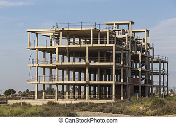 building construction site work from concrete, concrete structure of building under construction, concrete formwork, construction of the building