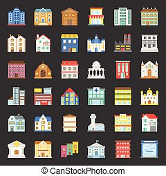 building construction vector, flat icon set 1/3