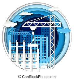 Building construction, vector illustration in paper art style