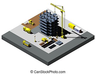 Building Construction vector isometric illustration, includes high detailed vehicles