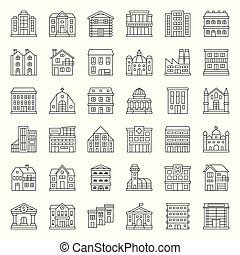 building construction vector, outline icon set 1/3