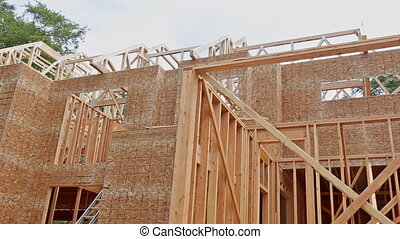 Building construction, wood framing structure at new...