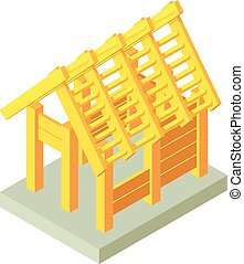 Building construction wood icon, isometric 3d style