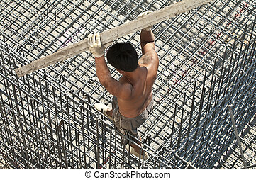 construction worker - building construction worker at danger...