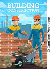 Building construction workers on site vector